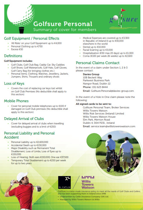 Golf Insurance - Applications & Renewals : Killiney Golf Club